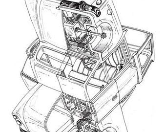 Rubix Car - A3 size - Wall Art