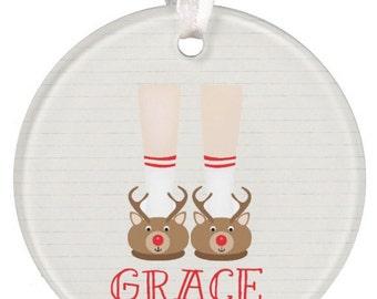 Christmas Ornament Kids Ornament Girls Ornament Deer Ornament Boys Ornament Personalized Christmas Ornament Baby Gift RyElle Christmas Gift
