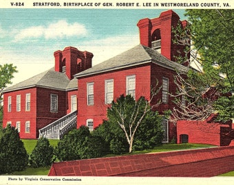 Westmoreland, Virginia, Robert E. Lee, Stratford - Postcard - Vintage Postcard - Unused (JJ)