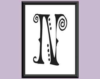 Typography Digital Print Monogram Initial Wall Art SpaGirl Letter N