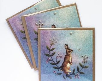 Wild Rabbit in Flowers Greetings Card