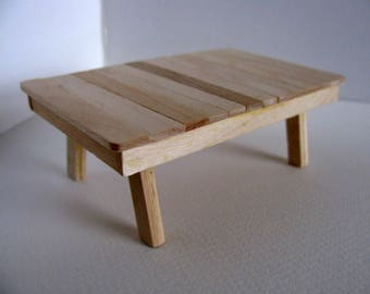 Miniature Garden Table / 1:12 Scale Doll House Garden Furniture / Handmade with Birch / Unfinished