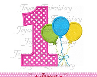 Instant Download Balloons Number 1 Applique Machine Embroidery Design NO:1486
