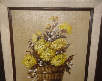 Small Still Life/ Flowers in Wood Barrow/Signed Dee Salter