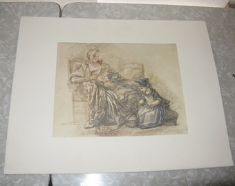 Vintage reproduction print Reading Woman with Child Jean-Baptiste Simeon Chardin