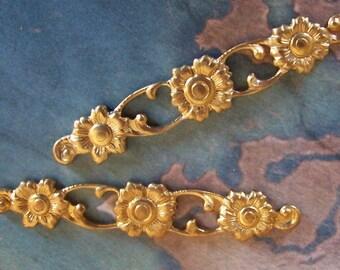 2 PC. Raw Brass Floral Bar / Brooch Top Finding - D0088