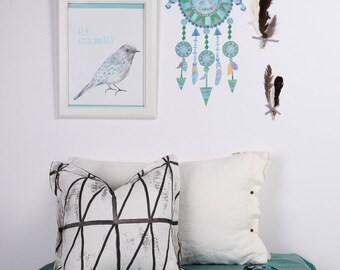 Fabric Wall Decal - Dreamcatcher - Blues (reusable) NO PVC
