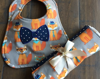 Baby Boy Gift Set of Burp Cloths & Bib, Baby Boy Gift Set, Baby Boy Bib, Baby Boy Burp Cloths, Baby Shower Gift, The Fox Goes to the Office