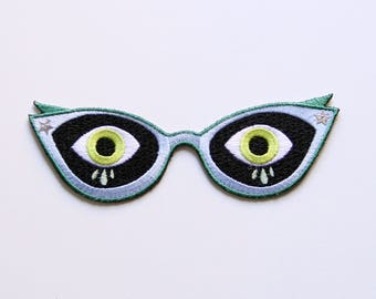 Scardey Cat Eyes Iron-on Embroidered Patch
