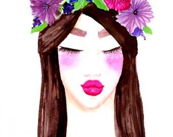 Flower Girl - Watercolor Digital Print