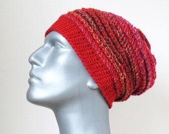Men's Winter Hat, Red Beanie, Gifts for Men, Chunky Crochet Slouch, Baggy Ski Hat, Thick Soft Wool Slouchy Beanie