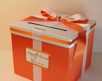 Wedding Card Box Orange and White Gift Card Box Money Box Holder--Customize your color (10x10x9)