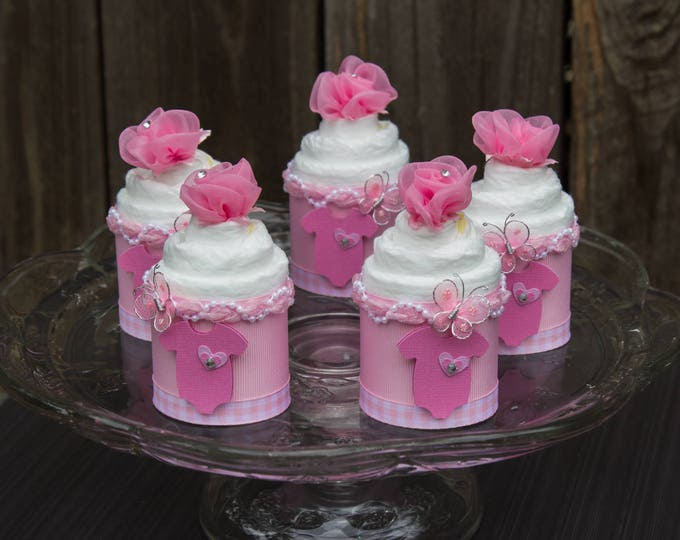 Featured listing image: Baby Shower Cupcakes - Butterfly Baby Shower - Pink Onesie - Baby Shower - Diaper Cupcakes - Baby Cakes - It's a Girl - Baby Shower Favor
