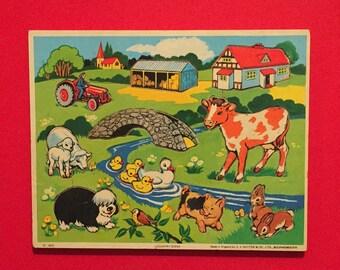 Vintage children's jigsaw puzzle.wooden game.family fun.nursery decor.colourful.retro,farm.church.bunny,tractor.dog.chicks.