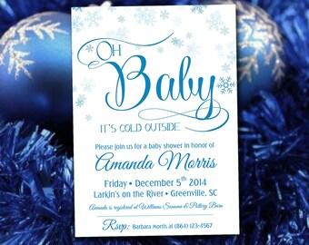 "Baby Shower Invitation Template INSTANT DONLOAD, Printable Invitation ""Oh Baby"" Blue Snowflake Invitation, Winter Wonderland Baby Boy Shower"