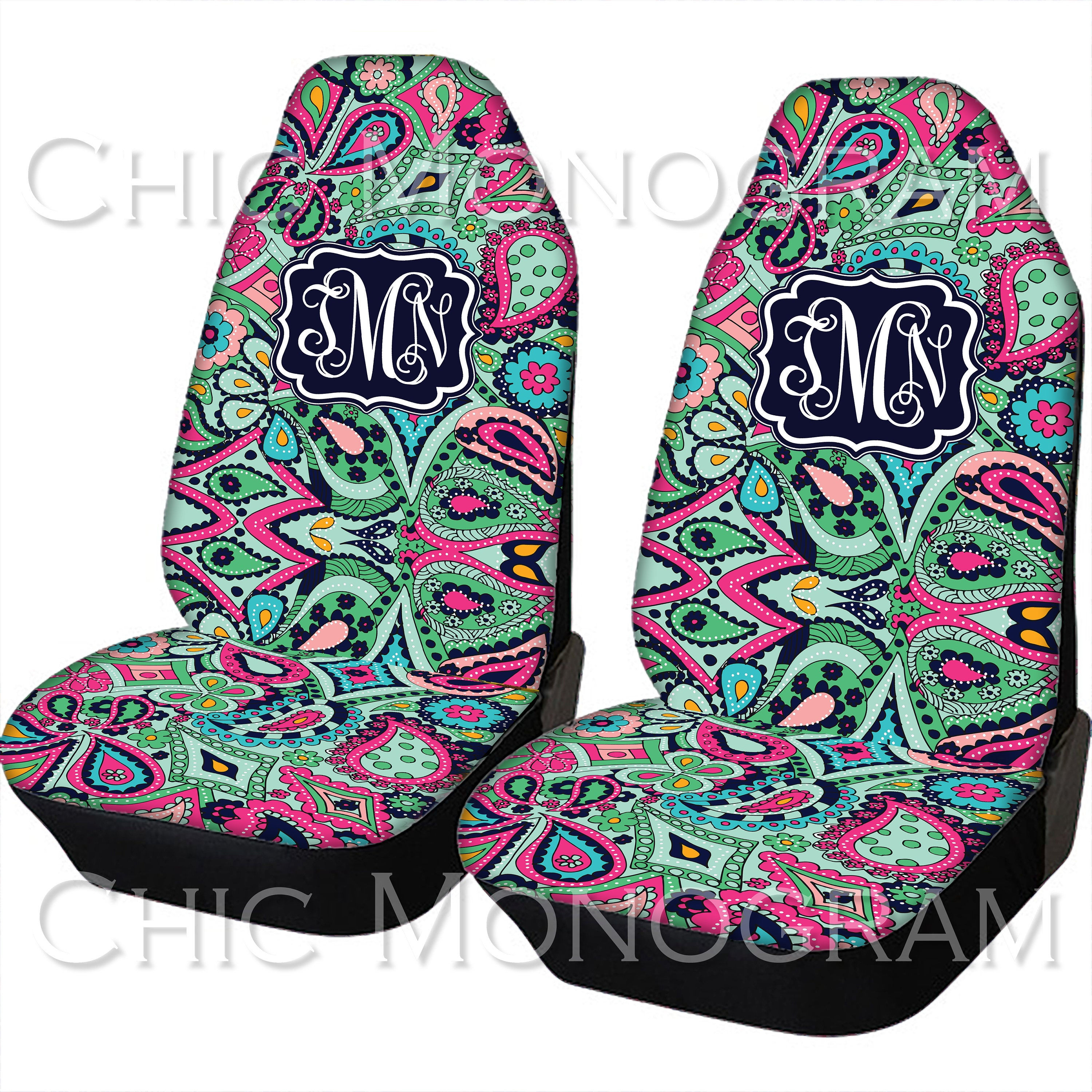 seat covers for vehicle paisley jewels car seat covers front seat back seat cover monogram. Black Bedroom Furniture Sets. Home Design Ideas