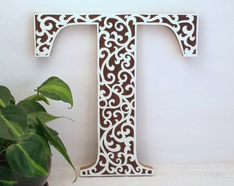 Letter T - Wooden Initial Wall Letter - Wood Letter Wall Decor - Wooden Letter - Wedding Reception Decor - Baby Girl Letter - Nursery Decor