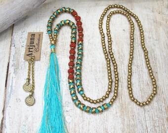 Turquoise Tassel Necklace, Beaded Tassel Necklace, Beaded Necklace, Yoga Necklace, Tassel Necklace, Yoga Jewelry