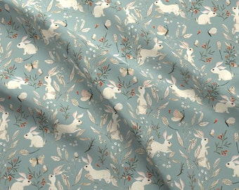 Spring Bunnies On Blue Fabric - Bunnies Blue By Katherine Quinn - Bunnies Rabbits Botanicals Blue Cotton Fabric By The Yard With Spoonflower