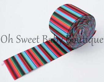 """Turquoise Serape Zarape Mexican Blanket 1.5"""" Grosgrain US Designer Ribbon"""