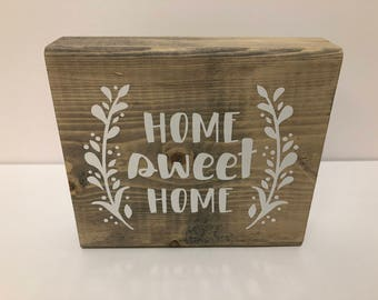 """Wood Sign, """"HOME sweet HOME"""""""
