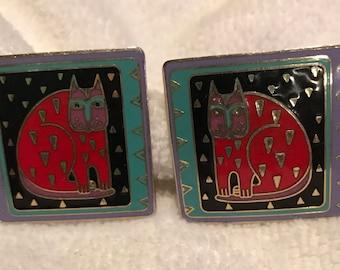Rare Laurel Burch Fantastic Felines Gold Pierced Earrings