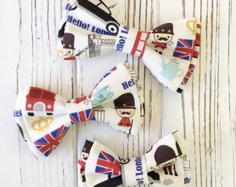 Union jack bowtie - British flag bowtie - British fabric bow- united kingdom - Daddy and son  - brothers and sisters bow - dog bowties