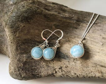 Aquamarine Jewellery Set - Aquamarine & Sterling Silver necklace and earrings - Aquamarine Jewelry - March Birthstone - Mother's Day