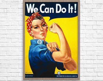 We Can Do It Poster, We Can Print, We can do it art, Rosie The Riveter - We Can Do It, 1943 War Production Poster, Wall Art