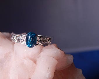 Vintage Child's  1.48 Ct.Oval Blue Zircon Sterling Silver Filigree Ring