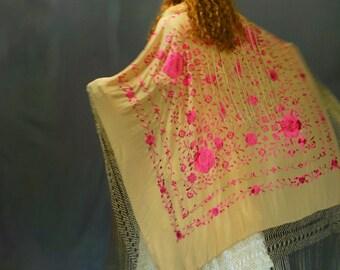 Gorgeous huge silk piano shawl / extra long fringing & hand embroidery / mocha cerise pink oriental square bridal Spanish manton boho magic
