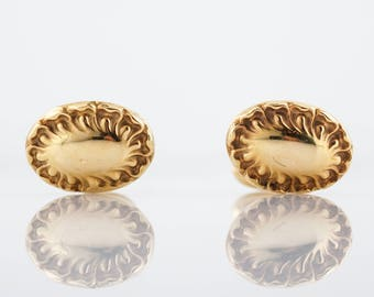 Antique Oval Cufflinks Victorian in 14K Yellow Gold
