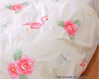 "Wide 92"" Cotton, Pink Flamingo & Flower Plaid Quilting Cotton Fabric in Ivory Cotton - 1/2 yard"