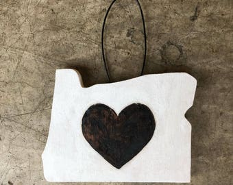 Oregon Heart Ornament - White