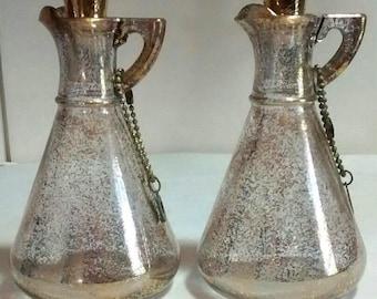 Vintage Hazel Atlas Gold Tone Oil & Vinegar Glass Cruet Set, Mid-Century