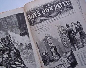 Original Boys Magazine, Vintage Ephemera, Antique Magazine, Early Magazine,128 Year Old The Boys Own Paper 1885