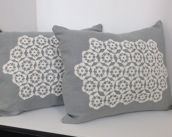 "Pair of Linen Pillow covers with Vintage Crochet Doilies 12"" X 16"""