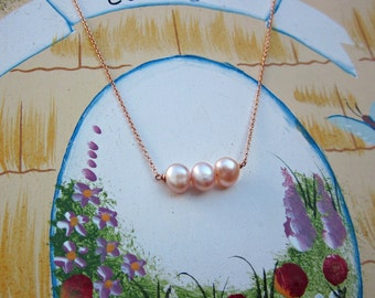 Pearl Necklace, Simple Necklace, Dainty Necklace, Natural Pearls, Bridal Jewelry, Wedding Jewelry, Pink Pearls, Pearl Pendant, Gift for Her
