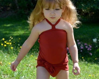 Baby Bathing Suit Terracotta Wrap Around Swimsuit Toddler Girls Swimwear Infant One Wrap Swimming Costume Baby Girl One Size Swim Suit
