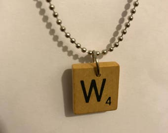 Personalized Handmade Vintage Scrabble Initial Necklace