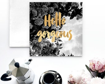 Hello Black and Gold Notecard - Greeting Cards