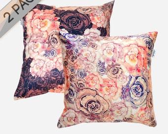 SALE 2 PACK Peonies pillowcases by original design, marsala and pastel orange flower satin pillows, ivory, pink, bordo 18x18'(45x45 cm)