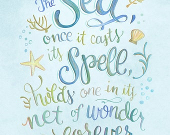 The Sea Once It Casts Its Spell of Wonder - Jacques Cousteau Quote - Art Print