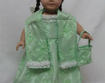 Mint Green Formal Dress for 18 inch doll like the American Girl. ( MARKED DOWN)