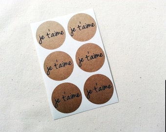 Je T'aime Kraft Round Stickers / Set of 30 / Envelope Seals / Labels / Gift Embellishment / Valentine's Day / I Love You Stickers