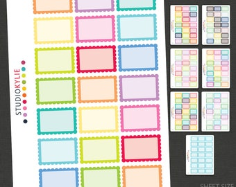Scalloped Half Boxes -  Planner Stickers - Repositionable Matte Vinyl