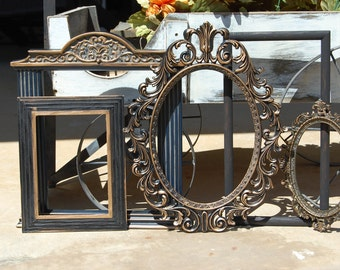 Set Of 5 Black & Gold Picture Frames - Shabby Chic Frames - PICTURE FRAMES - Ornate - Vintage - Gallery Wall