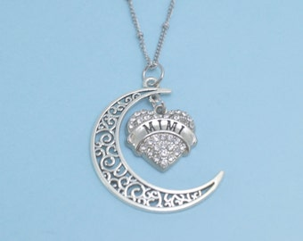 """MiMi """"Love Her to the Moon and Back"""" Charm Necklace.  Mimi Necklace.  Mimi Charm.  Mimi Jewelry.  Mimi gifts.  Mimi gifts."""
