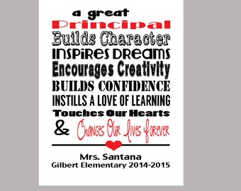 Principal Print, Principal Appreciation Gift, Personalized Principal Thank You Gift, Principal End of Year Gift, PDF Digital Print
