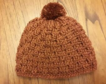 Crochet pom-pom hat - burnt orange; winter hat; warm hat; made in Alaska; wool-free; crochet beanie; crochet hat